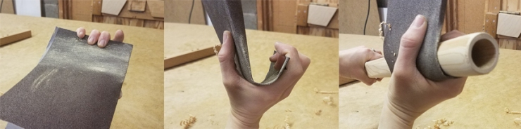 How to hold sandpaper while for shading a Stellar flute making kit - www.stellarflutes.com